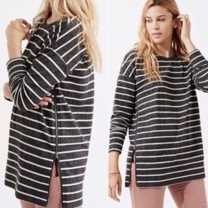 Lou & Grey Stripe Gray Knit Zip Side Pullover